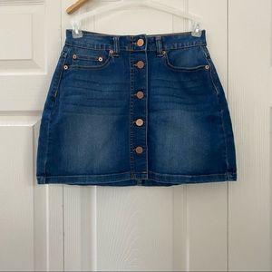 No Boundaries Dark Denim Button Up Mini Skirt